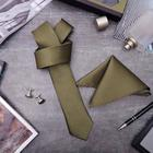 """Набор мужской """"Элит"""" галстук 145*5см самовяз, платок, запонки, клетка мелкая, цвет оливковый"""