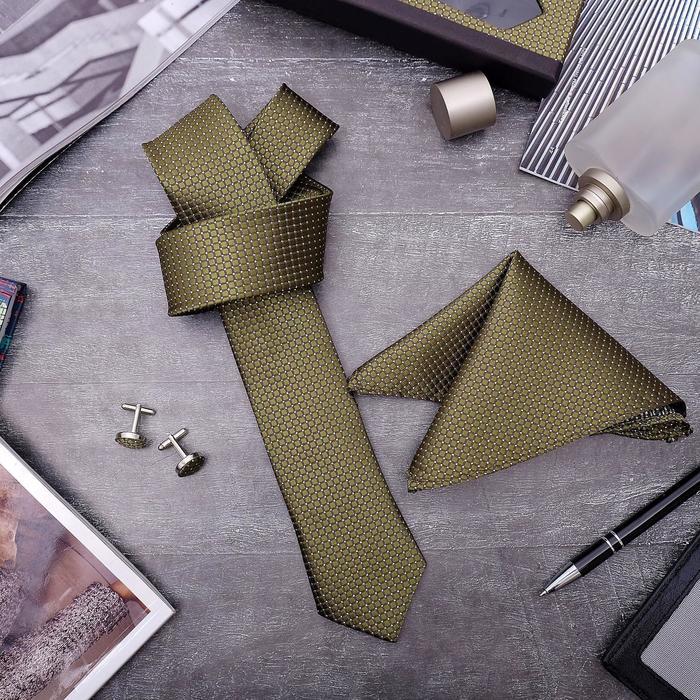 """Набор мужской """"Элит"""" галстук 145*5см самовяз, платок, запонки, клетка мелкая, цвет оливковый - фото 404458726"""