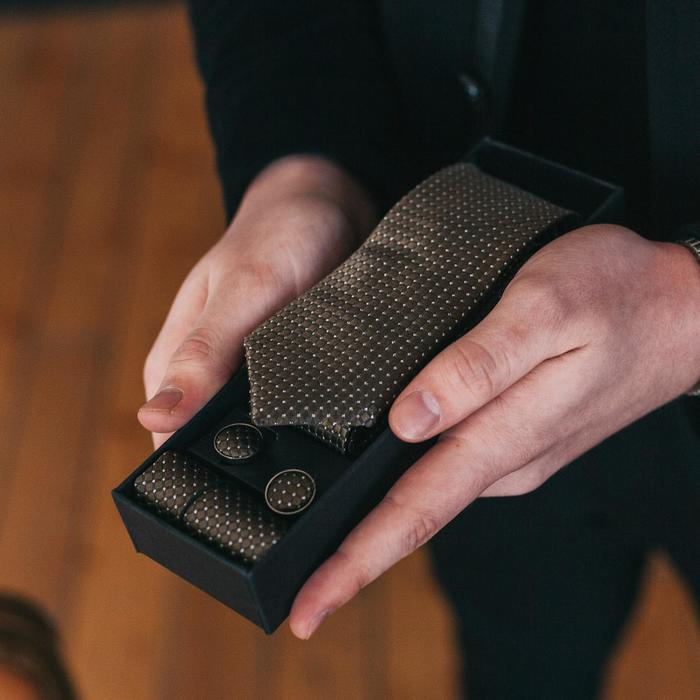 """Набор мужской """"Элит"""" галстук 145*5см самовяз, платок, запонки, клетка мелкая, цвет оливковый - фото 404458727"""