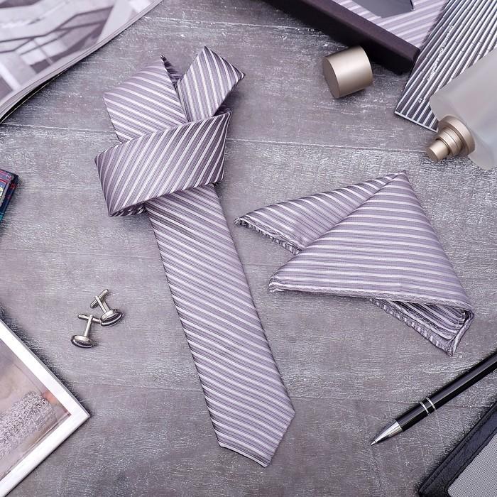 """Набор мужской """"Элит"""" галстук 145*5см самовяз, платок, запонки, полосы тонкие, цвет серый"""