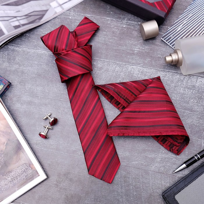 """Набор мужской """"Элит"""" галстук 145*5см самовяз, платок, запонки, полоски, цвет красно-чёрный - фото 405868745"""