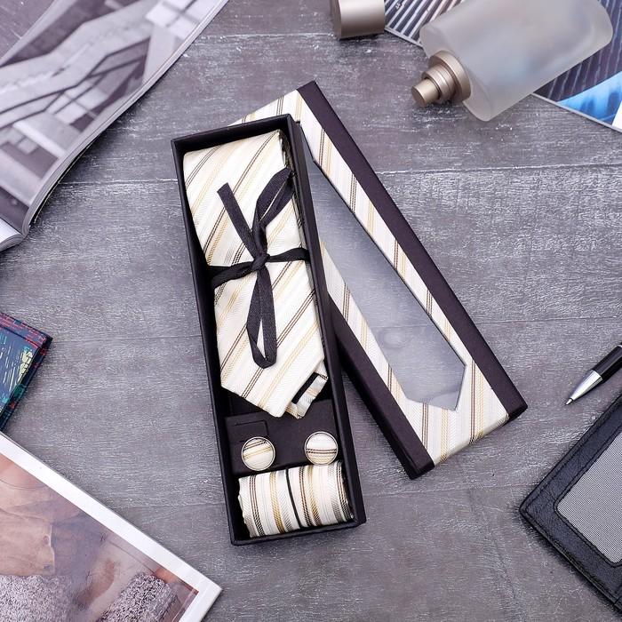 """Набор мужской """"Элит"""" галстук 145*5см самовяз, платок, запонки, полоски, цвет бежевый - фото 509544196"""