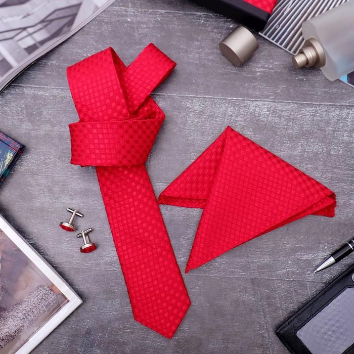 """Набор мужской """"Элит"""" галстук 145*5см самовяз, платок, запонки, квадрат крупный, цвет красный"""