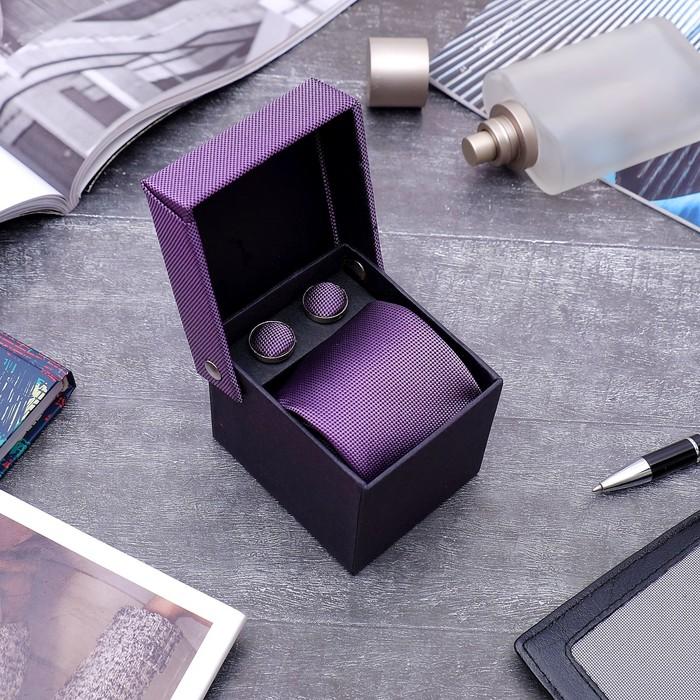 """Набор мужской """"Премьер"""" галстук 145*5см самовяз, запонки, цвет фиолетовый - фото 551354685"""