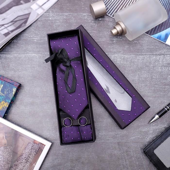 """Набор мужской """"Элит"""" галстук 145*5см самовяз, платок, запонки, квадрат, цвет фиолетовый - фото 443571206"""
