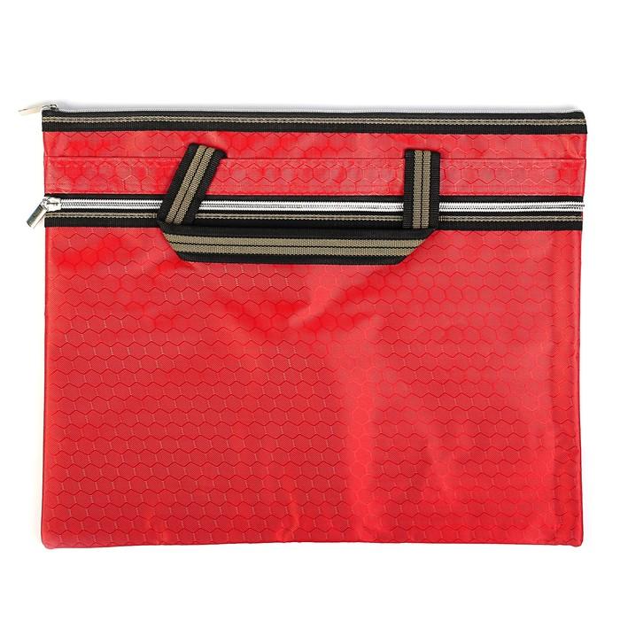 Портфель 1 отделение, А4, текстиль на молнии с ручками, с карманом красный