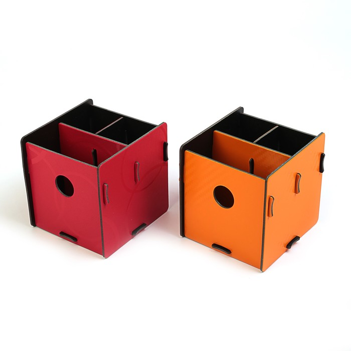 Подставка для пишущих принадлежностей, «Куб», разборный, 3 отделения, пластик, 10х10х10 см, МИКС - фото 369526621