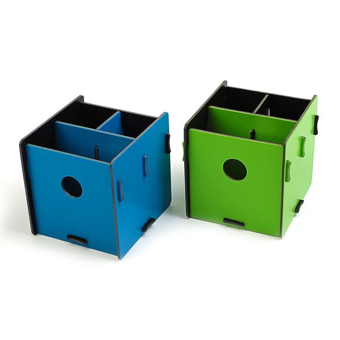 Подставка для пишущих принадлежностей, «Куб», разборный, 3 отделения, пластик, 10х10х10 см, МИКС - фото 369526622