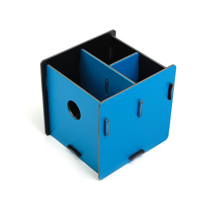 Подставка для пишущих принадлежностей, «Куб», разборный, 3 отделения, пластик, 10х10х10 см, МИКС - фото 369526623