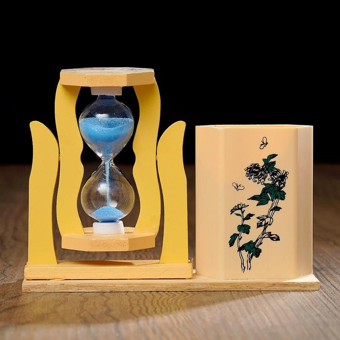 Часы песочные с карандашницей «Япония», микс песка и картинок, 5х13.5х10 см