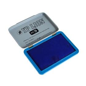 Штемпельная подушка, синяя, в металлической коробке, №3, 10х7 см