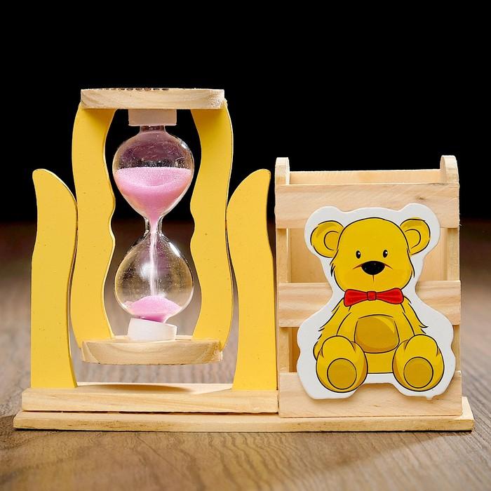 Часы песочные «Медвежонок» с карандашницей, дерево, микс песка, 13.5х13.5х10 см см