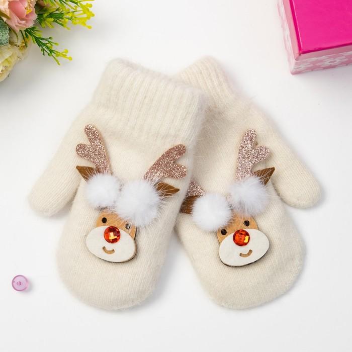 """Варежки детские MINAKU """"Новогодний оленёнок"""", размер 18, цвет белый"""