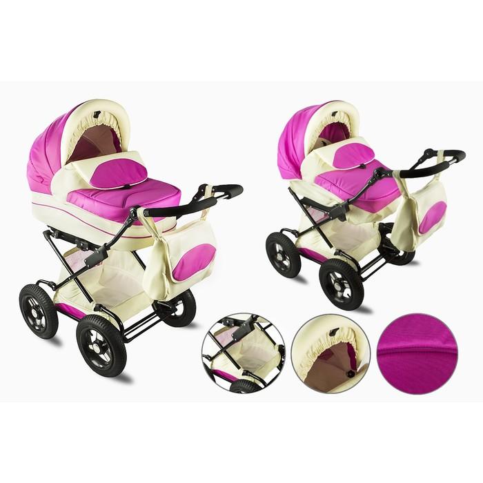 Коляска детская Кл-1 «Настена» комбинированная 2 в 1, розовый на молочном