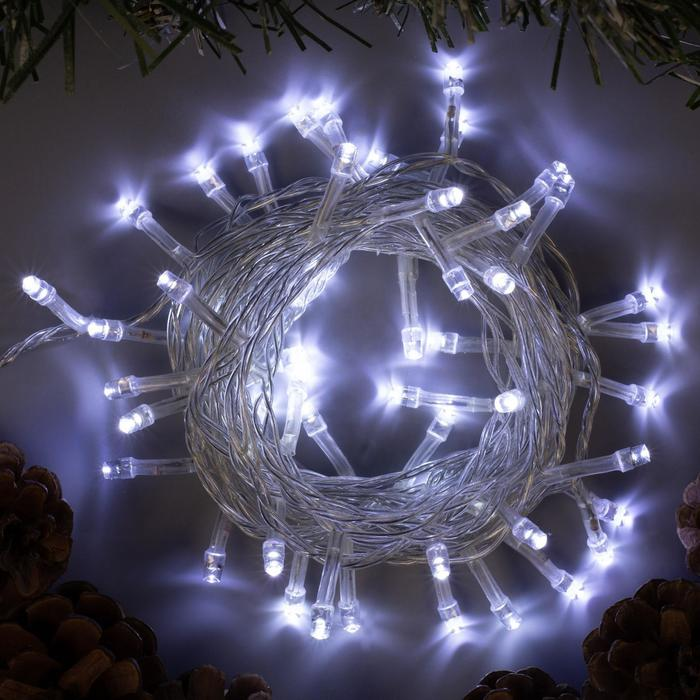 """Гирлянда """"Нить"""", 5 м, LED-50-220V, 8 режимов, нить прозрачная, свечение белое"""