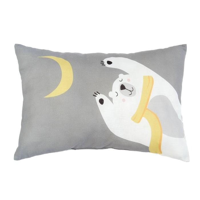 """Подушка """"Крошка Я"""" Мишка с луной, 30х47 см, 100% хлопок, синтепон"""