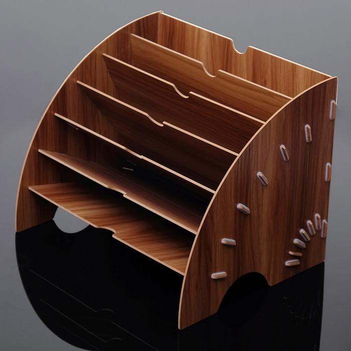 Органайзер для канцелярии, сборный, 6 отделений для бумаг, под дерево, 26х34х27 см