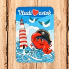 "Magnet ""Vladivostok"""" (Crab Pirate in the background of the lighthouse) 5.5 x 8 cm"