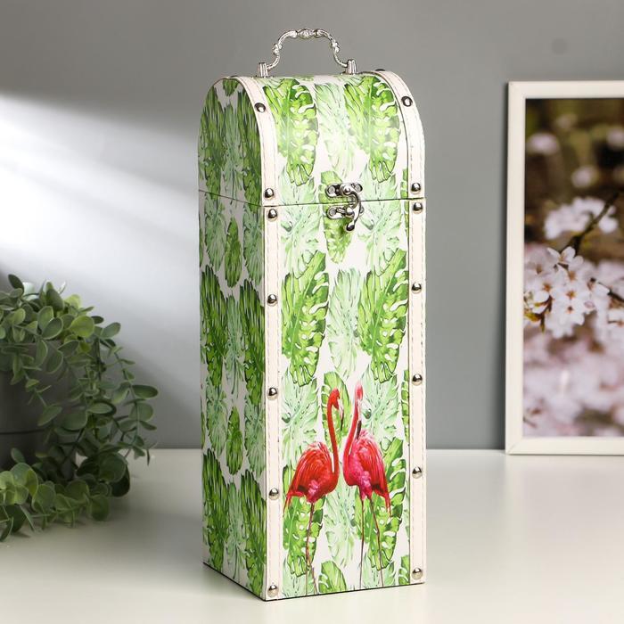 """Шкатулка дерево под бутылку """"Пальмовые листья и фламинго"""" 35х12х12 см"""