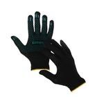 Перчатки, х/б, вязка 7 класс, 4 нити, размер 9, с ПВХ точками, чёрные, Greengo