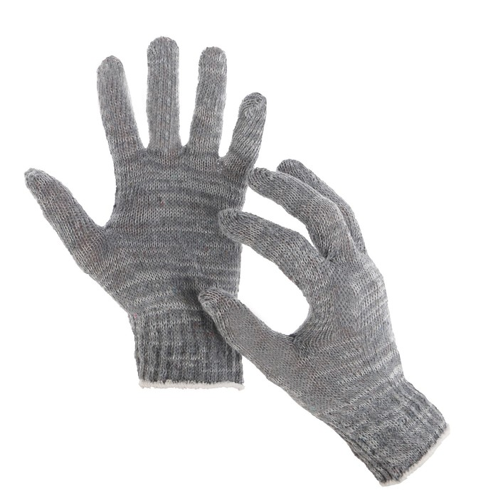 Перчатки, хб, вязка 7 класс, 3 нити, размер 9, без покрытия, серые
