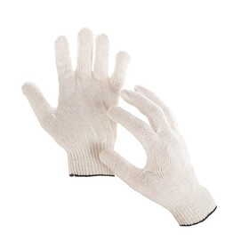 Gloves, cotton, knit 10 class, 4 threads, size 9, PVC-free, white