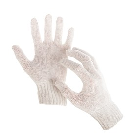 Перчатки, х/б, вязка 7 класс, 3 нити, размер 9, без покрытия, белые Ош