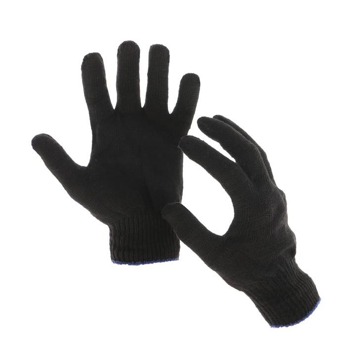 Перчатки, х/б, вязка 10 класс, 4 нити, размер 9, без ПВХ, чёрные