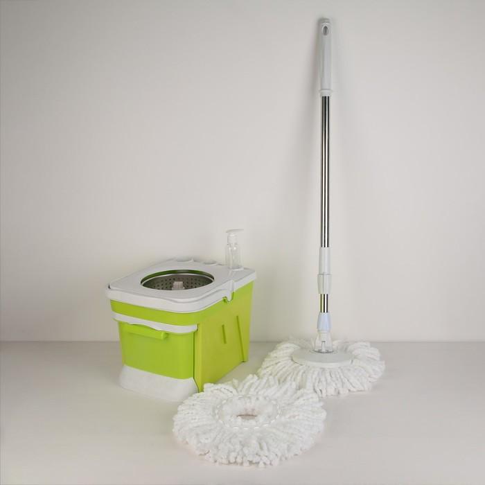 Набор для уборки: ведро с металлической центрифугой 9,5 л, швабра плоская, запасная насадка, цвет МИКС