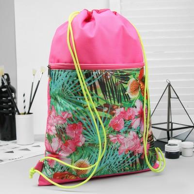 """Сумка-мешок для обуви """"Листва"""", наружный карман на молнии, цвет розовый"""