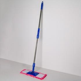 Швабра плоская Доляна «Ocean», телескопическая ручка 78-117 см, насадка микрофибра букли 42×13 см, цвет МИКС - фото 4647296