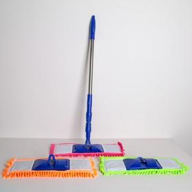 Швабра плоская Доляна «Ocean», телескопическая ручка 78-117 см, насадка микрофибра букли 42×13 см, цвет МИКС - фото 4647299