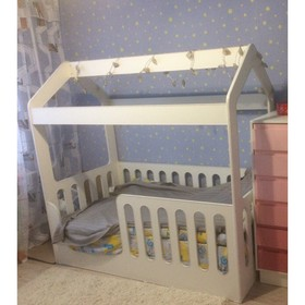 Детская кровать-домик без ящика, белый, 800х1600