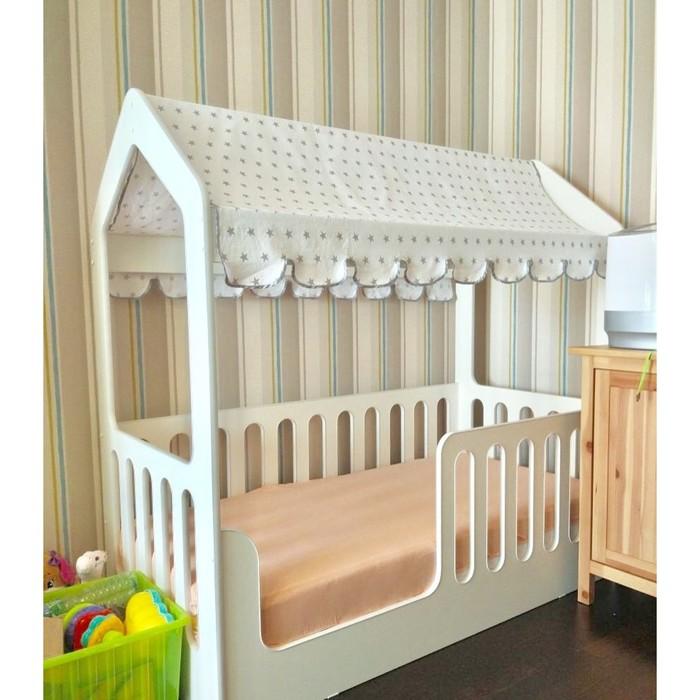 Детская кровать-домик без ящика, цвет белый, 800 × 1600 мм, текстильный полог