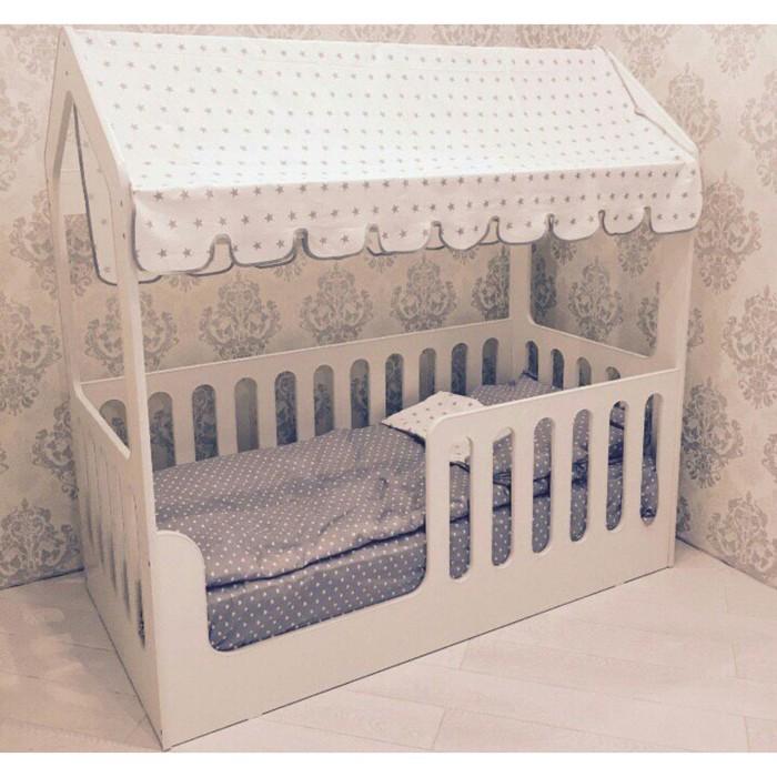 Детская кровать-домик без ящика, белый, 800х1600, текстиль 2