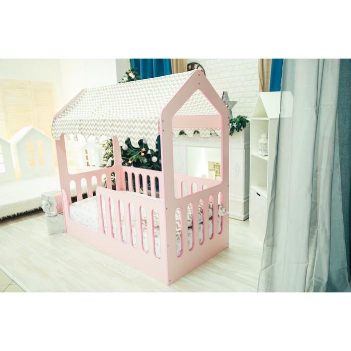 Детская кровать-домик без ящика, розовый, 800х1600, текстиль 1