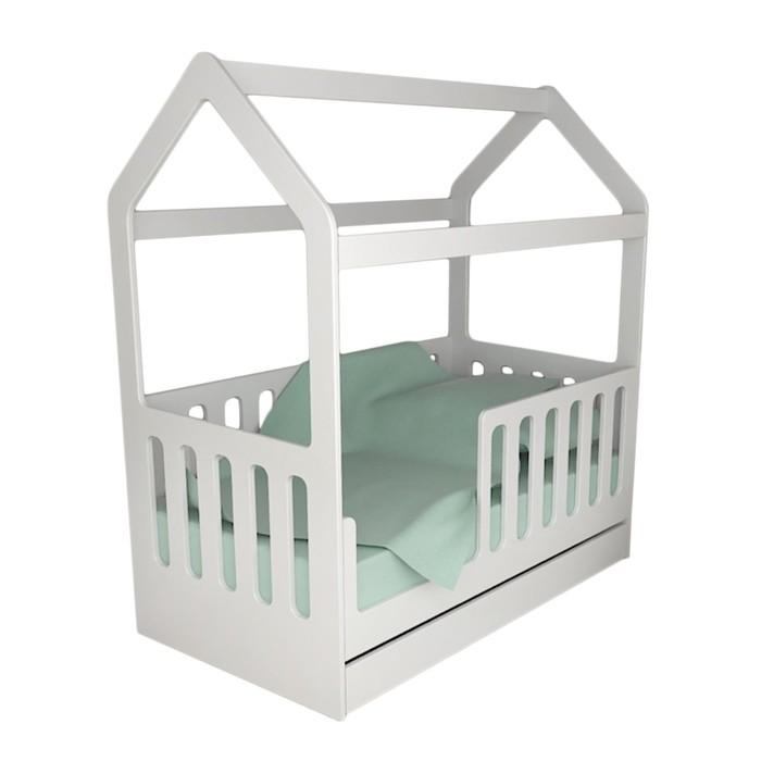 Детская кровать-домик с ящиком, белый, 800 × 1600 мм