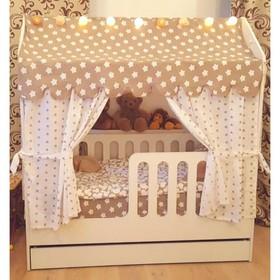 Детская кровать-домик с ящиком, белый, 800х1600, текстиль 1