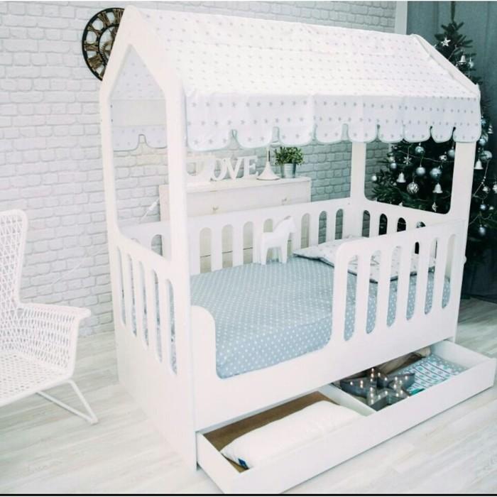 Детская кровать-домик с ящиком, белый, 800х1600, текстиль 2