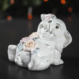 """Копилка """"Свинка Толстопуз"""", глазурь, белый цвет, 13 см"""