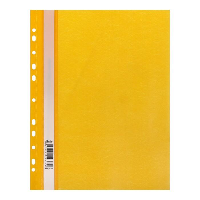 Папка-скоросшиватель А4, 140/180 мкм Hatber жёлтая, с перфорацией