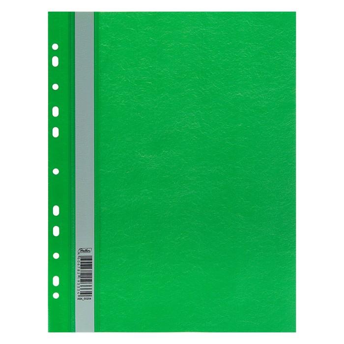 Папка-скоросшиватель А4, 140/180 мкм Hatber зелёная, с перфорацией