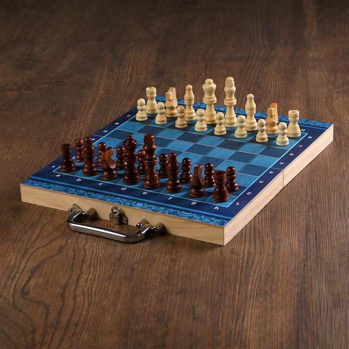 """Набор игр 3 в 1 """"Синева"""": нарды, шахматы, шашки, доска и фигуры из дерева, 29х29 см"""