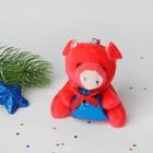 """Мягкая игрушка-подвеска """"Свинка"""" в лапках подарок, цвета микс"""