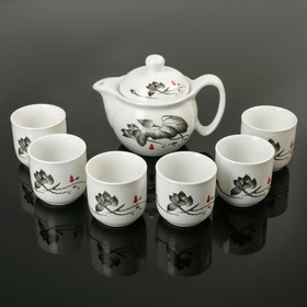 """Набор для чайной церемонии """"Веточка"""", 7 предметов: чайник 300 мл, 6 чашек 100 мл"""