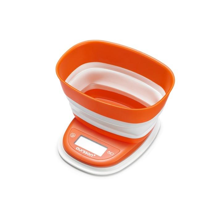 Весы кухонные Oursson KS5006PD/OR, электронные, до 5 кг, индикация перегрузки, оранжевые