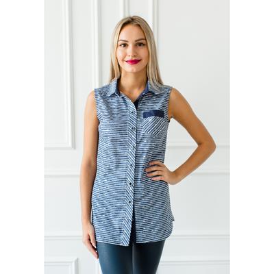 Блуза женская Бритни, цвет голубой, размер 56