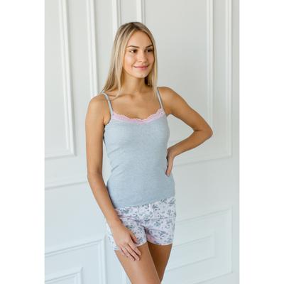 Комплект женский (майка, шорты) Эмилия, цвет серый, размер 46