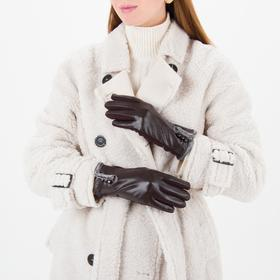 Перчатки женские безразмерные, комбинированные, без подклада, для сенсорных экранов, цвет кофе