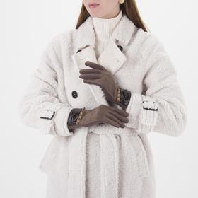 Women's oversized gloves, without padding, for touch screens, color brown